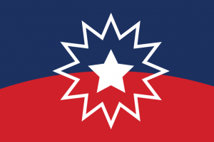 The Juneteenth flag features a red and blue background with a central 12-point star outline and a five-point star inside.