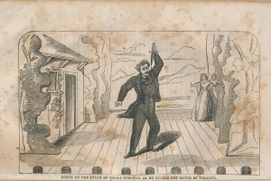 Sketch of John Wilkes Booth standing on the Ford's Theatre stage brandishing a dagger after shooting President Abraham Lincoln.