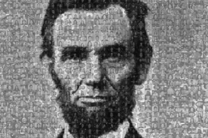 Portrait of Abraham Lincoln made entirely of tiny black and white photographs of individual faces.