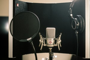 A professional recording microphone and two sound baffles shown in a recording booth.