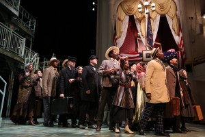 "More than 15 actors from the musical ""Ragtime"" stand on stage at Ford's Theatre."