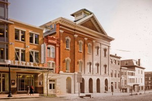 Merging of two photographs into one overlay image: a color photo of Ford's Theatre exterior from 2009 by Maxwell MacKenzie, and a black and white photo of the building exterior from the 1860s