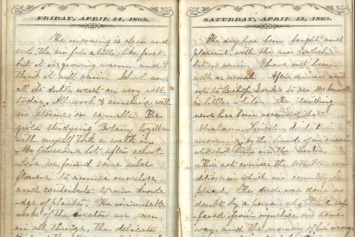 Handwritten diary with dates of April 14 and April 15, 1865 printed at top.