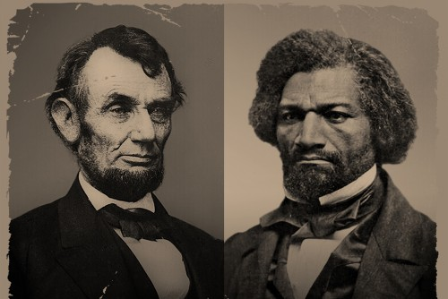 Images of Abraham Lincoln and Frederick Douglass courtesy Library of Congress and National Portrait Gallery.