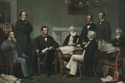 """First Reading of the Emancipation Proclamation of President Lincoln,"" painting by Francis Bicknell Carpenter, 1864. Link to learn more."