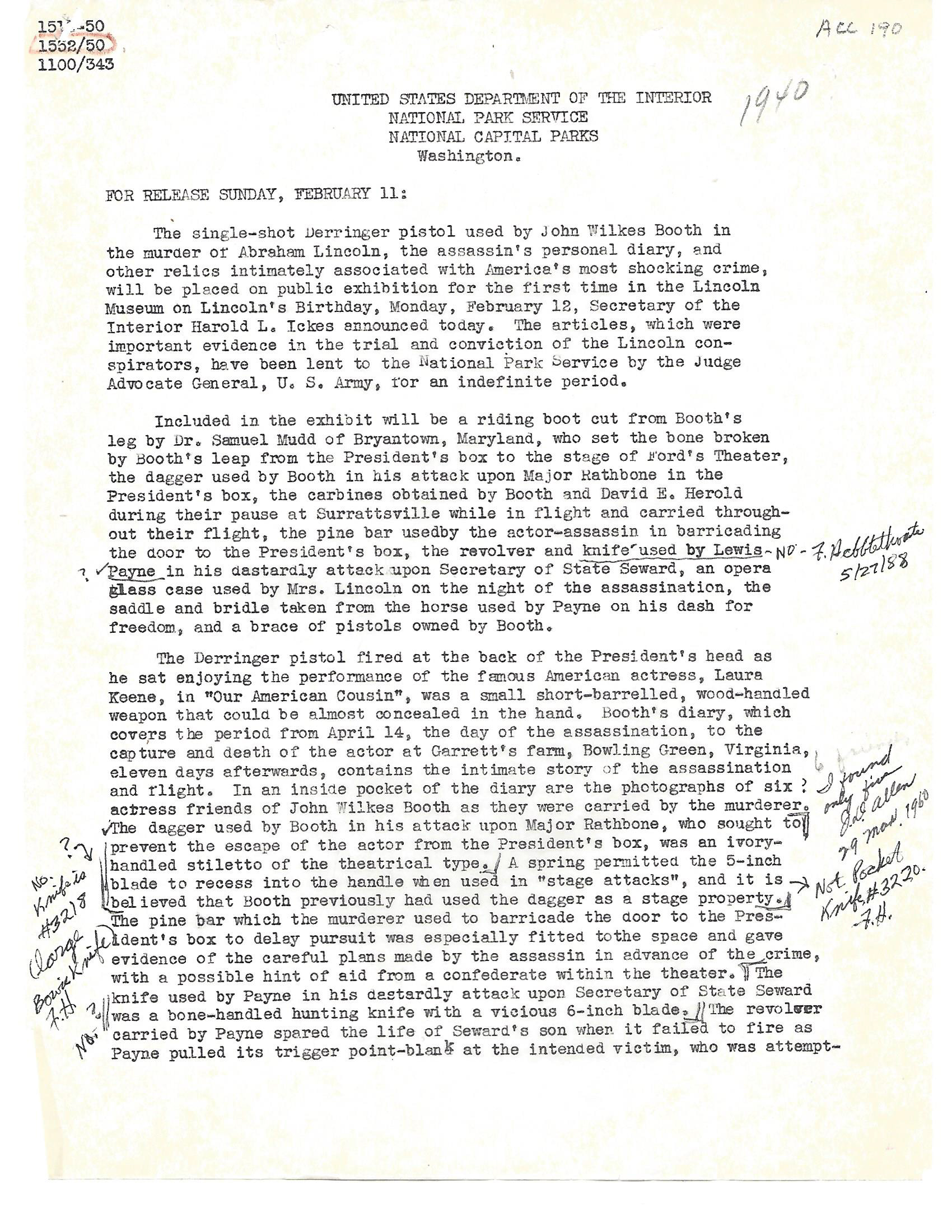 This 1940s Department of Interior press release touts items including John Wilkes Booth's deringer pistol, knives and other items coming into the Ford's Theatre National Historic Site collection.