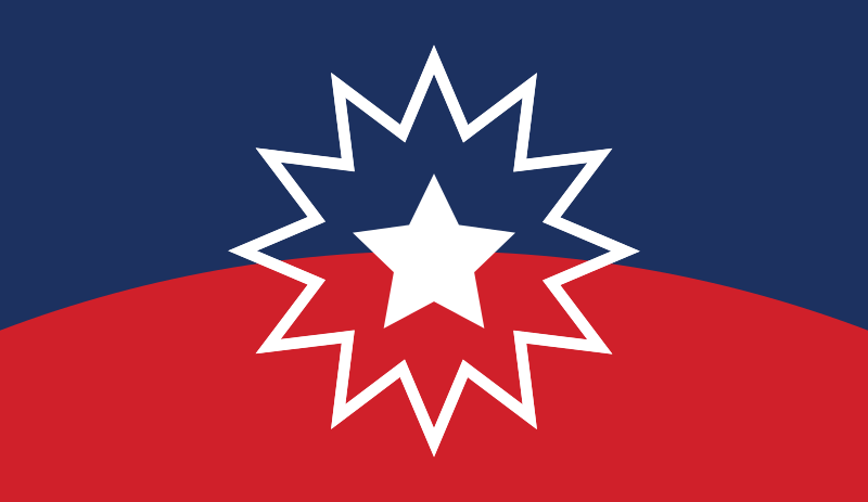 Red, white and blue banner with a bursting 12-point star with a five-point star in the middle is the Juneteenth Flag