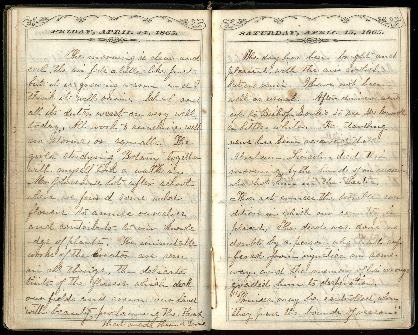 Handwritten diary pages with dates of April 14 and April 15, 1865, printed at top