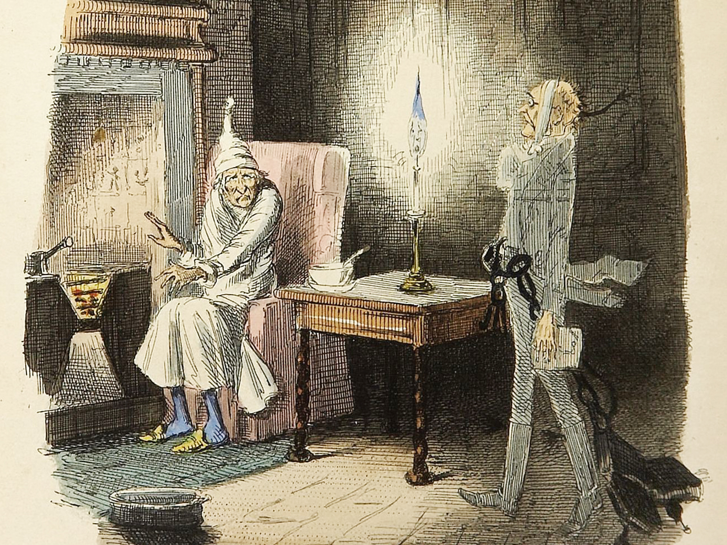 Illustration of Scrooge in his signature nightshirt and cap sitting in a red armchair near a fireplace. Scrooge wears a frightened expression as the ghost of his former business partner, Jacob Marley, visits him in the middle of the night, wrapped in heavy chains.