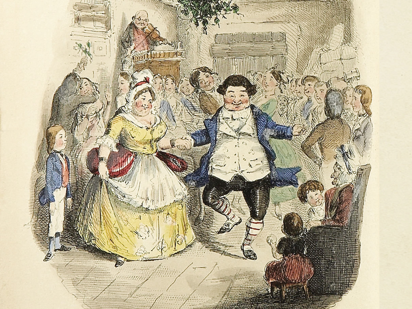 Illustration of a jolly, rosy-cheeked Victorian couple who kick up their heels as they dance at a Christmas party.
