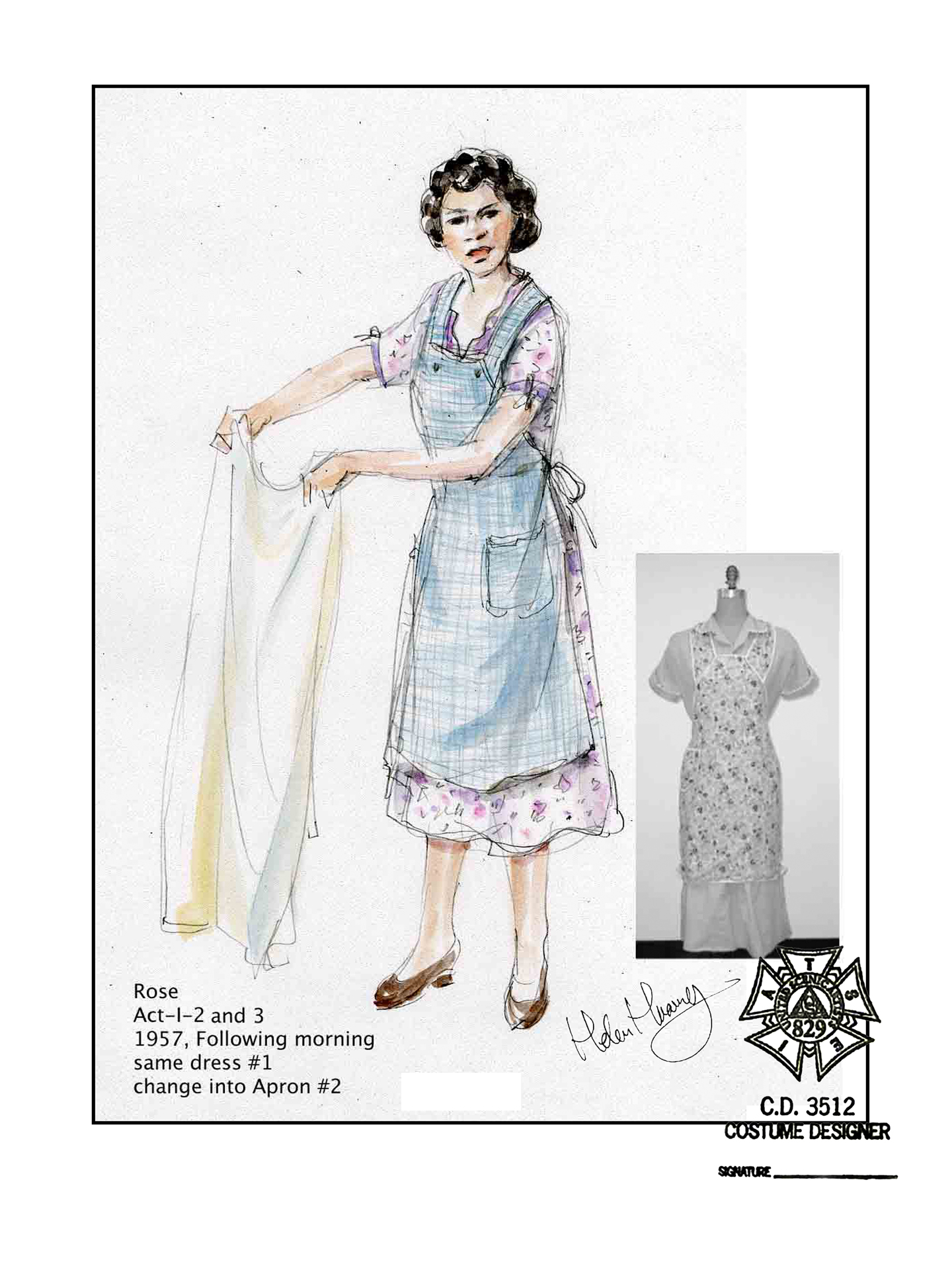 "Costume design sketch by Helen Huang of a costume for August Wilson's character Rose in the play ""Fences"" at Ford's Theatre. We see her wearing a simple blue apron over a short-sleeved, knee-length white dress with a small floral pattern."
