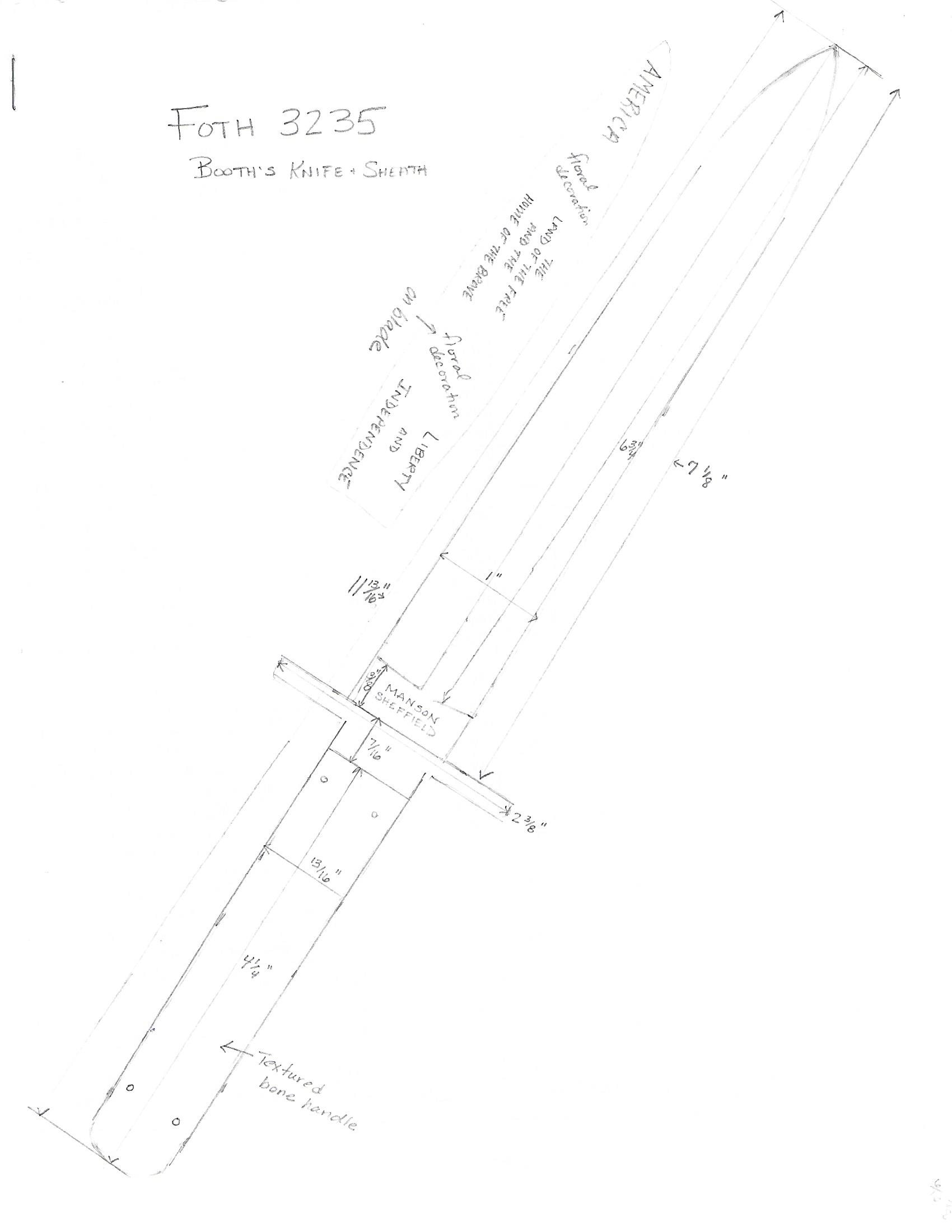 Pencil sketch of the Bowie knife #3218