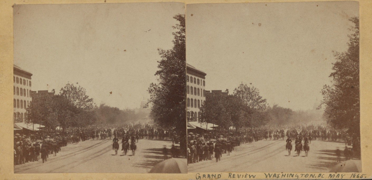Two stereograph photographs showing the Union Army parading down Pennsylvania Avenue in Washington, D.C., May 23-24, 1865. Spectators crowd both sides of the Avenue as cavalry on horseback and flag bearers lead foot soldiers. The Capitol dome can be seen in the distance behind the soldiers.