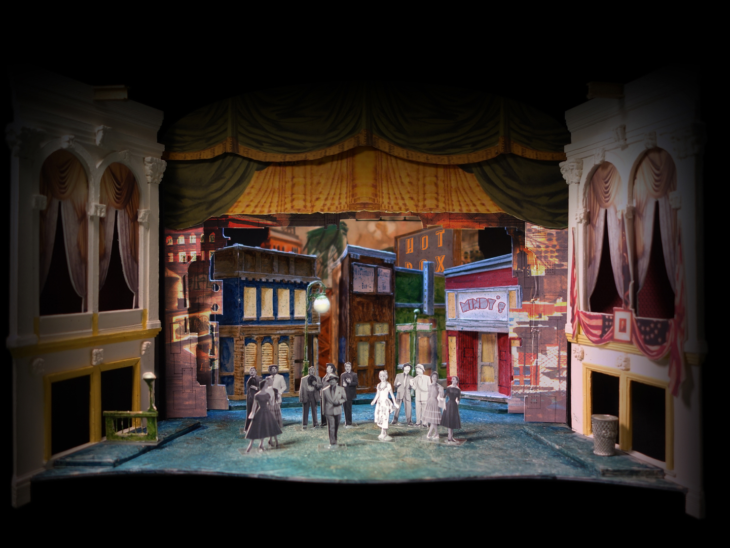 "Set design for ""Guys and Dolls"" at Ford's Theatre features Times Square buildings in bright, primary colors."