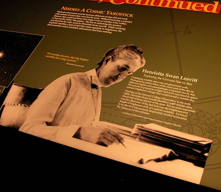 A photograph of Henrietta Swan Leavitt appears on a museum text panel at the Air and Space Museum.