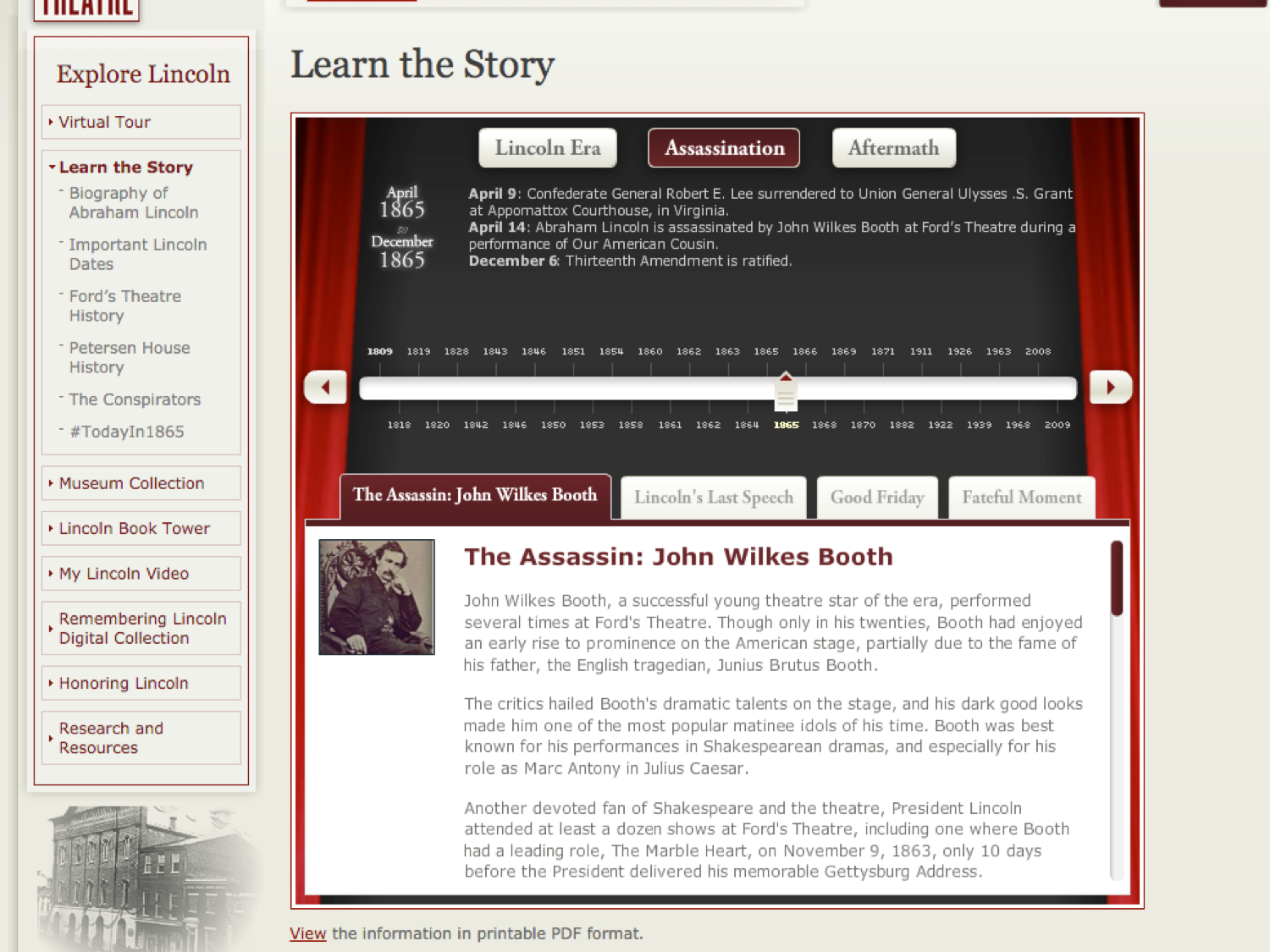 "Pre-2017 view of the Ford's Theatre web content. Image here shows a page that reads ""Learn the Story."""