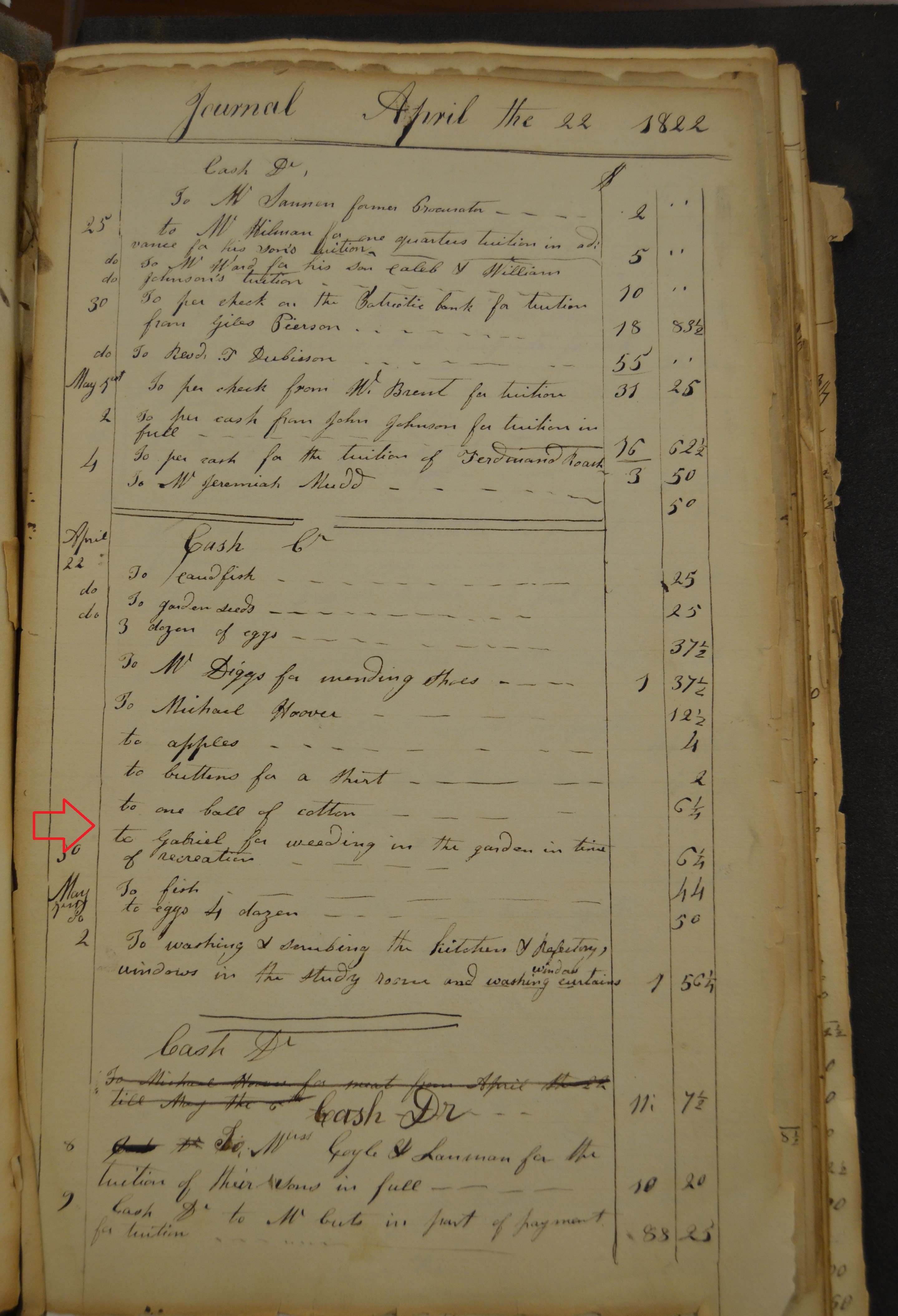 "Accounting ledger with notes about cash expenses. One reads: ""To Gabriel for weeding in the garden in time of recreation."""