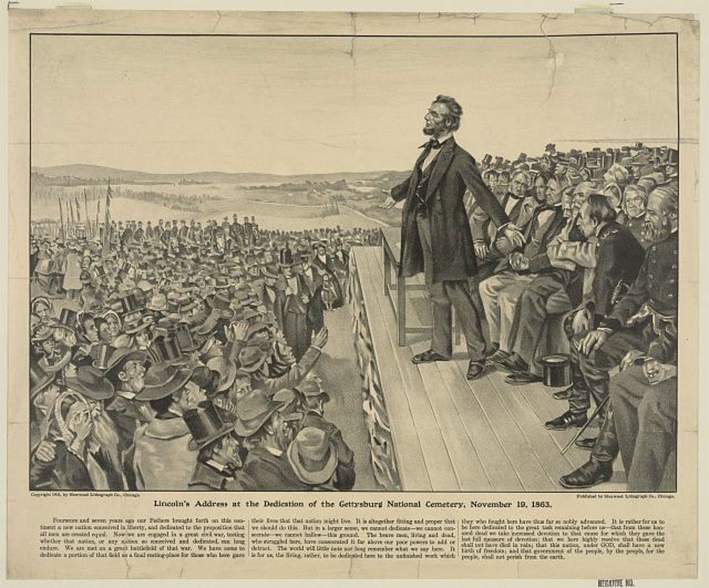 rint showing Abraham Lincoln standing on stage before a ground of people. Sherwood Lithograph Co., c1905. Library of Congress Prints and Photographs