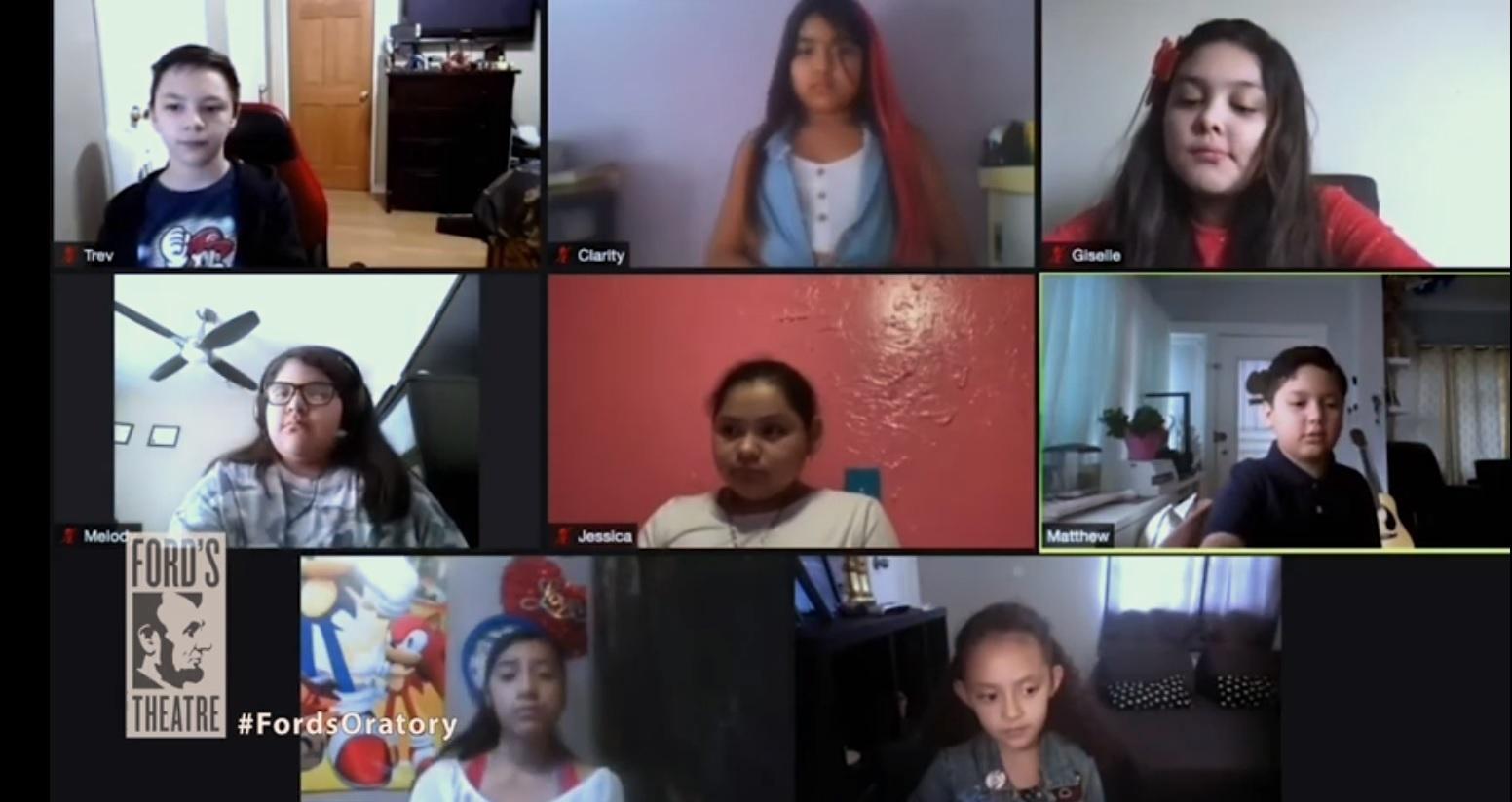 Nine students on Zoom.
