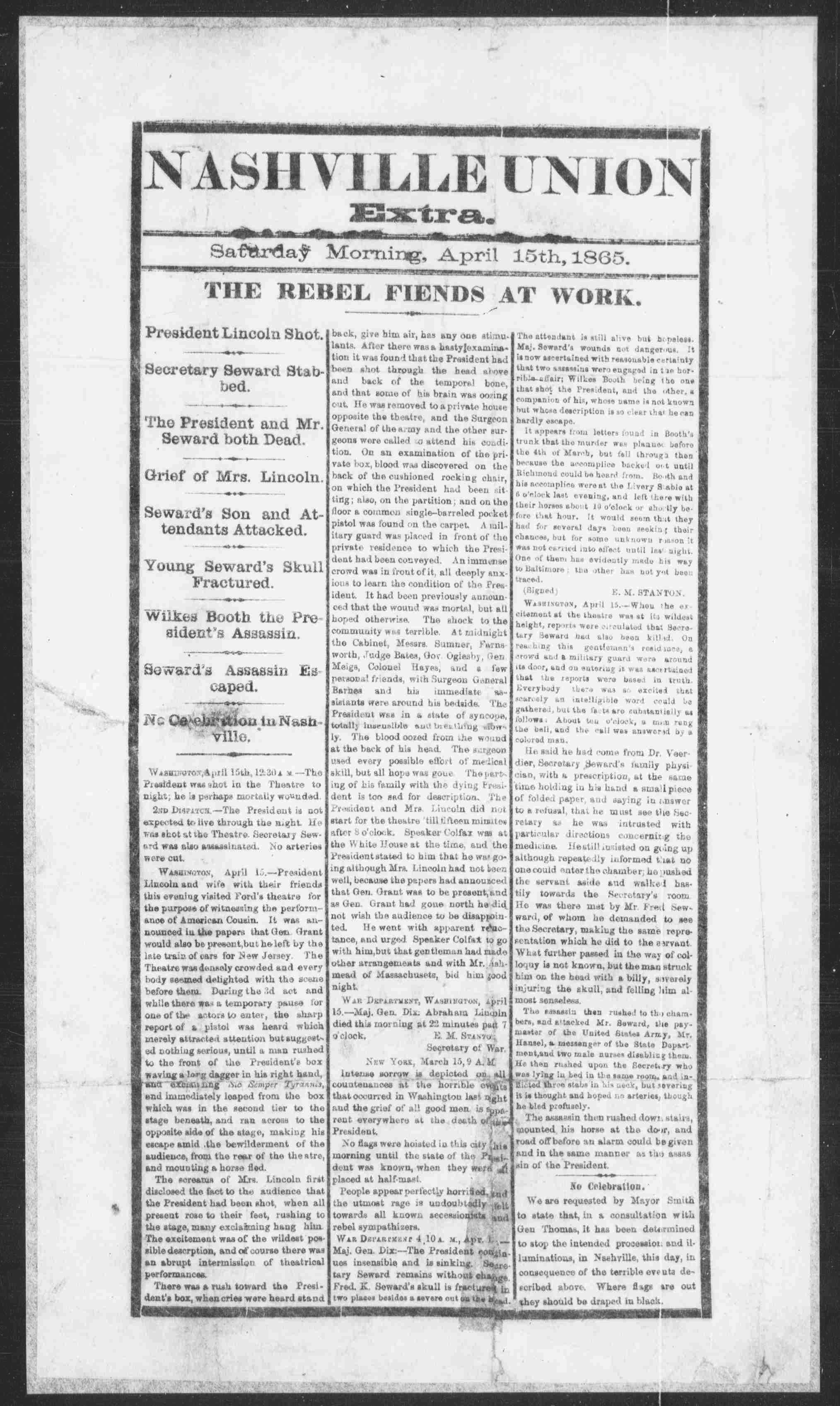 "Black-and-white Nashville Union newspaper dated April 15, 1865. Below masthead, headline reads: ""The Rebel Fiends at Work."" Article describes the assassination of President Abraham Lincoln."
