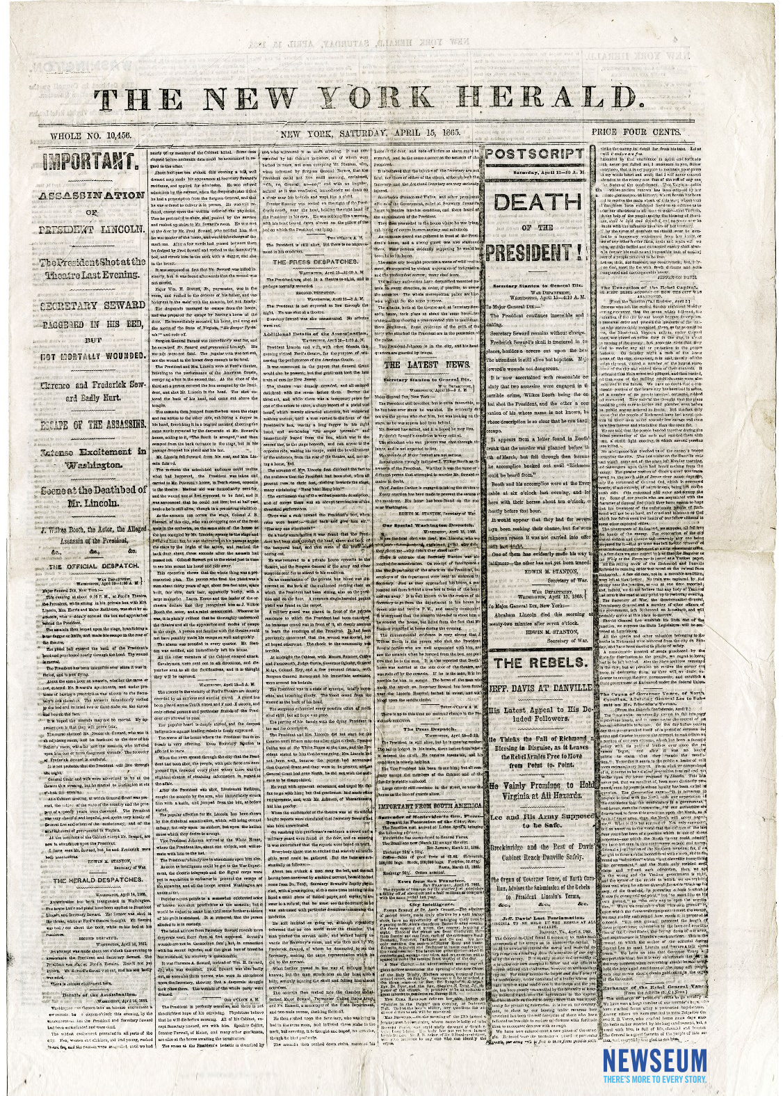 Image of the front page of the April 15 1865 New York Herald