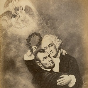 """This carte-de-visite memorial card (drawing) shows George Washington embracing Abraham Lincoln, welcoming him into heaven with a laurel wreath. Angles with open arms rest in a shaft of light above the presidents' heads. The caption reads: """"Washington & Lincoln-(Apotheosis.) Stamped on the back is the phrase: """"Joseph Ward, Looking Glasses and Picture Frames 125 Washington St. Boston."""" The card was most likely produced in the period shortly following Lincoln's assassination."""